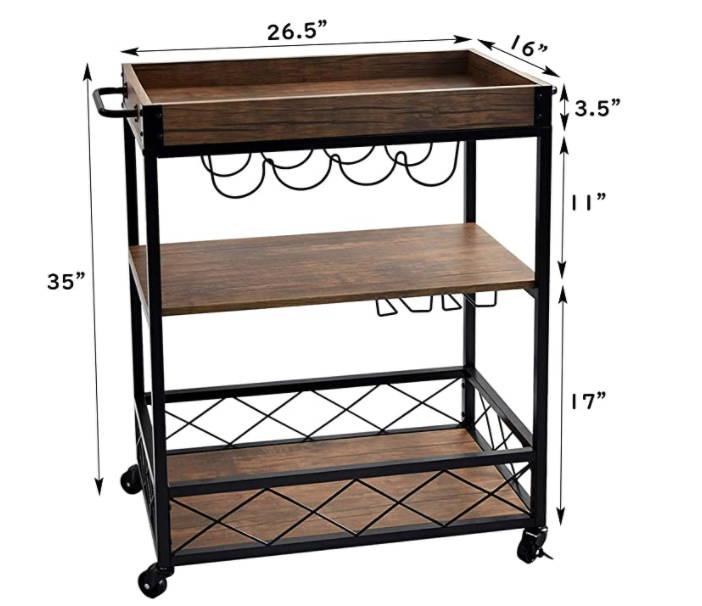 Small Bar Cart, Rustic Bar Cart, Glassware Storage, Kitchen Trolley