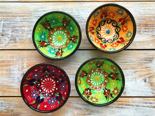 Набор керамических разноцветных соусниц (4 шт)