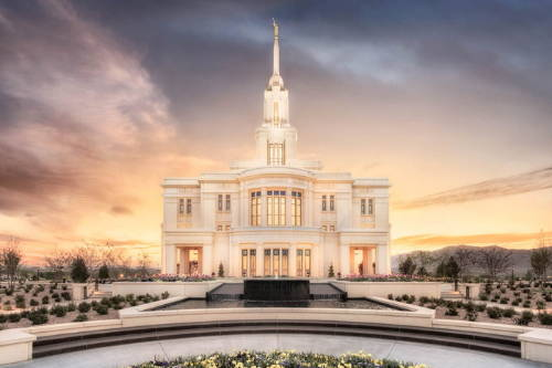 Photo of the Payson Utah Temple with silver understones.