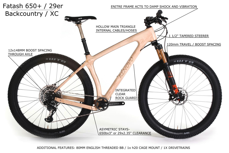 FatAsh 650+ 27.5 + Wooden MTB - Renovo Hardwood Bicycles