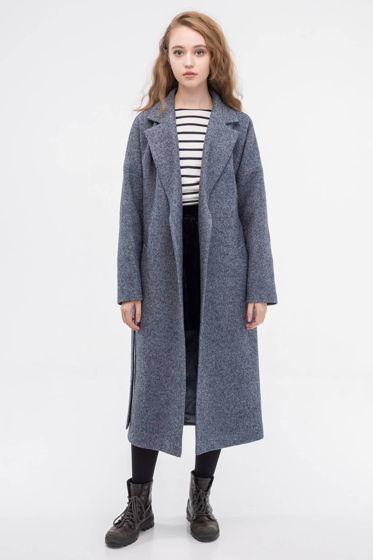 Пальто-халат серо-синего цвета
