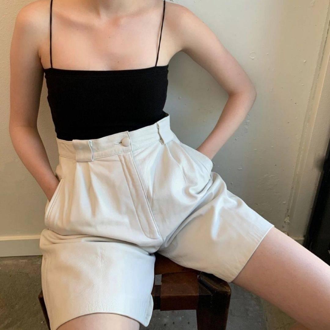 @cc_found vintage white high wasited shorts