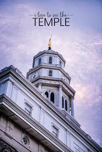 """Poster of the Nauvoo Temple spire. Test reads: """"I love to see the temple""""."""