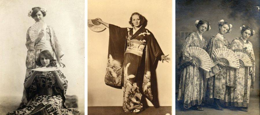 Early to mid 19century - Western women wearing Kimono