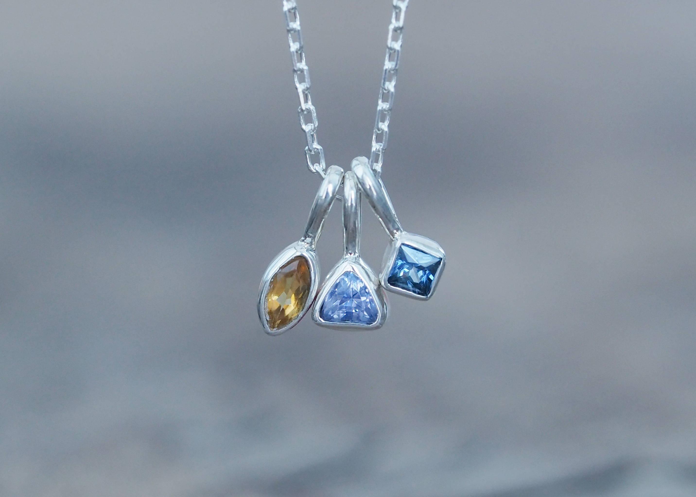 Custom Birthstone Necklace in Silver