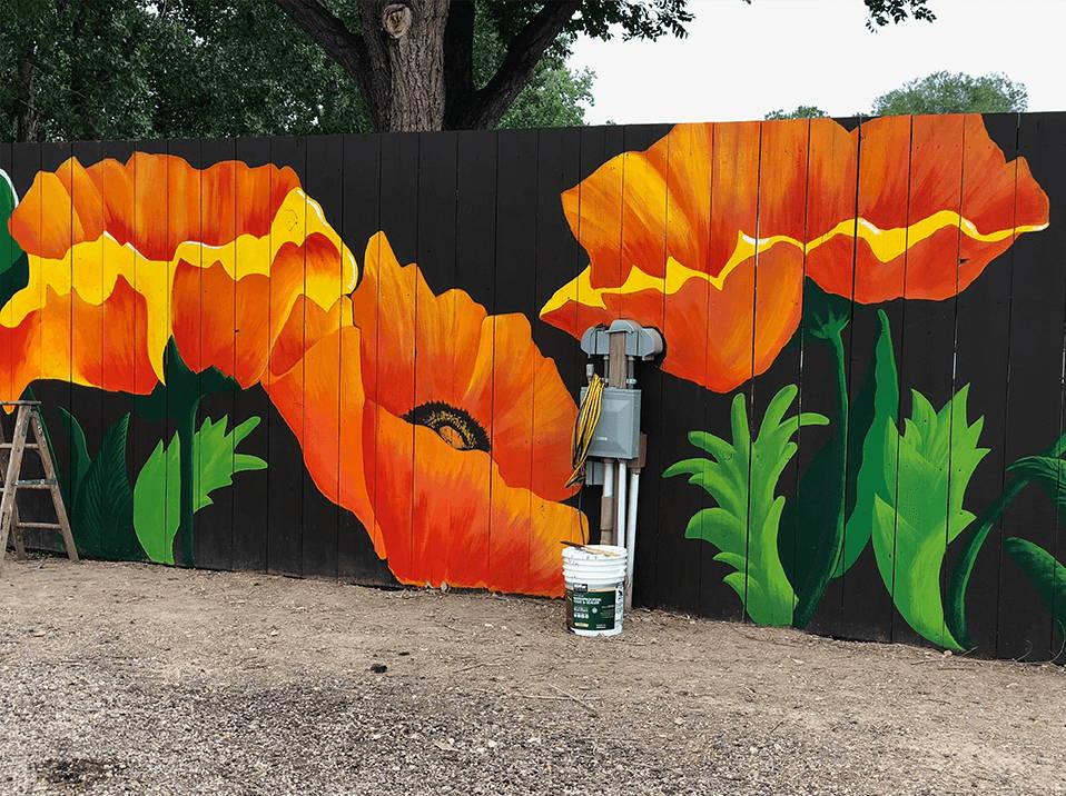 protecting a poppy painted wall protected with muralshield