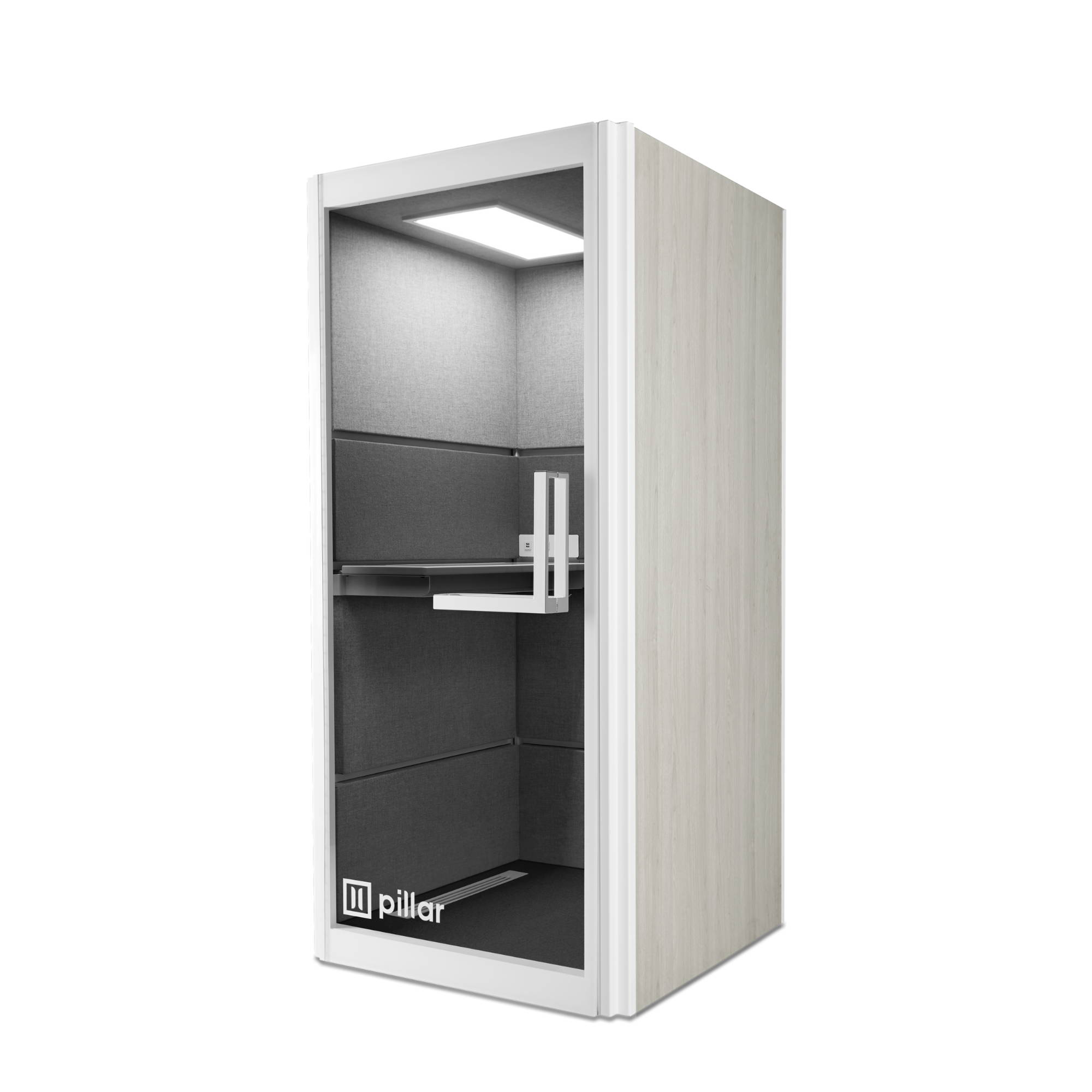 pillar booth white and grey oak