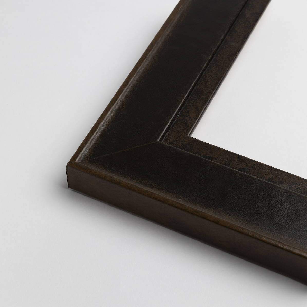 TV-Mirror Leather Look Frame Walnut by FRAMING TO A T