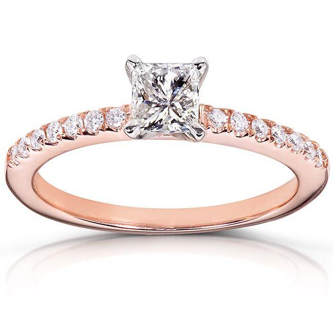 princess diamond rose gold engagement ring