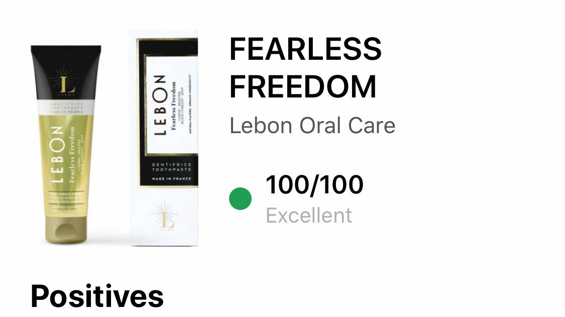 LEBON toothpaste review by YUKA for Fearless Freedom 100/100