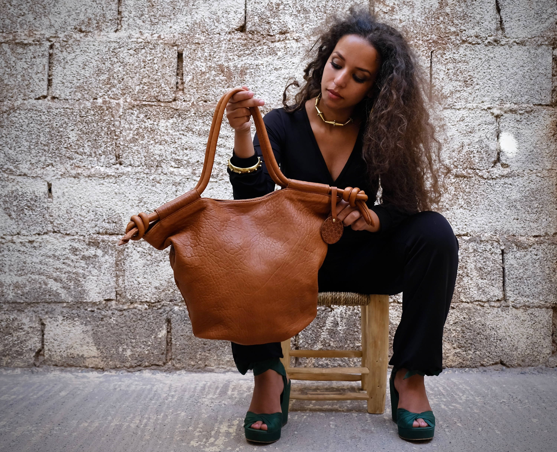 Hayat Tote Bag in Cognac Leather