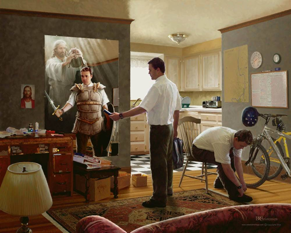 Painting of two male missionaries. Reflection in mirror replaces everyday items with the armor of God.