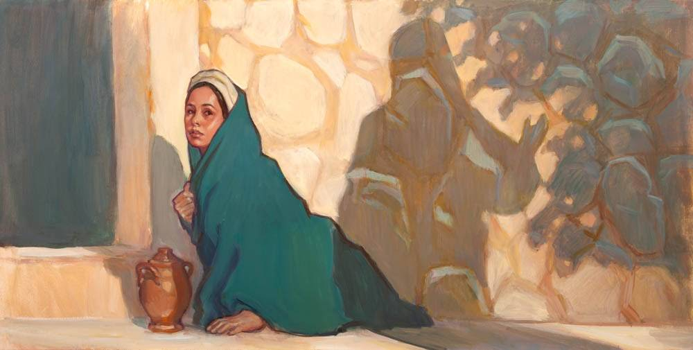 Painting of Mary Magdalene visiting Jesus' emtpy tomb.