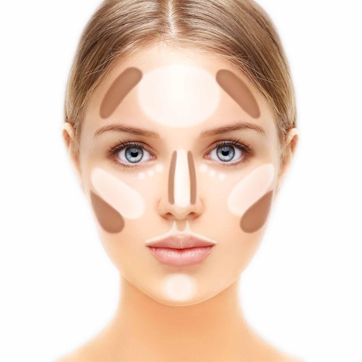 Frau mit dunklen und hellen Kreisen auf dem Gesicht, um zu zeigen, wo man welche Make-Up Farbe aufträgt