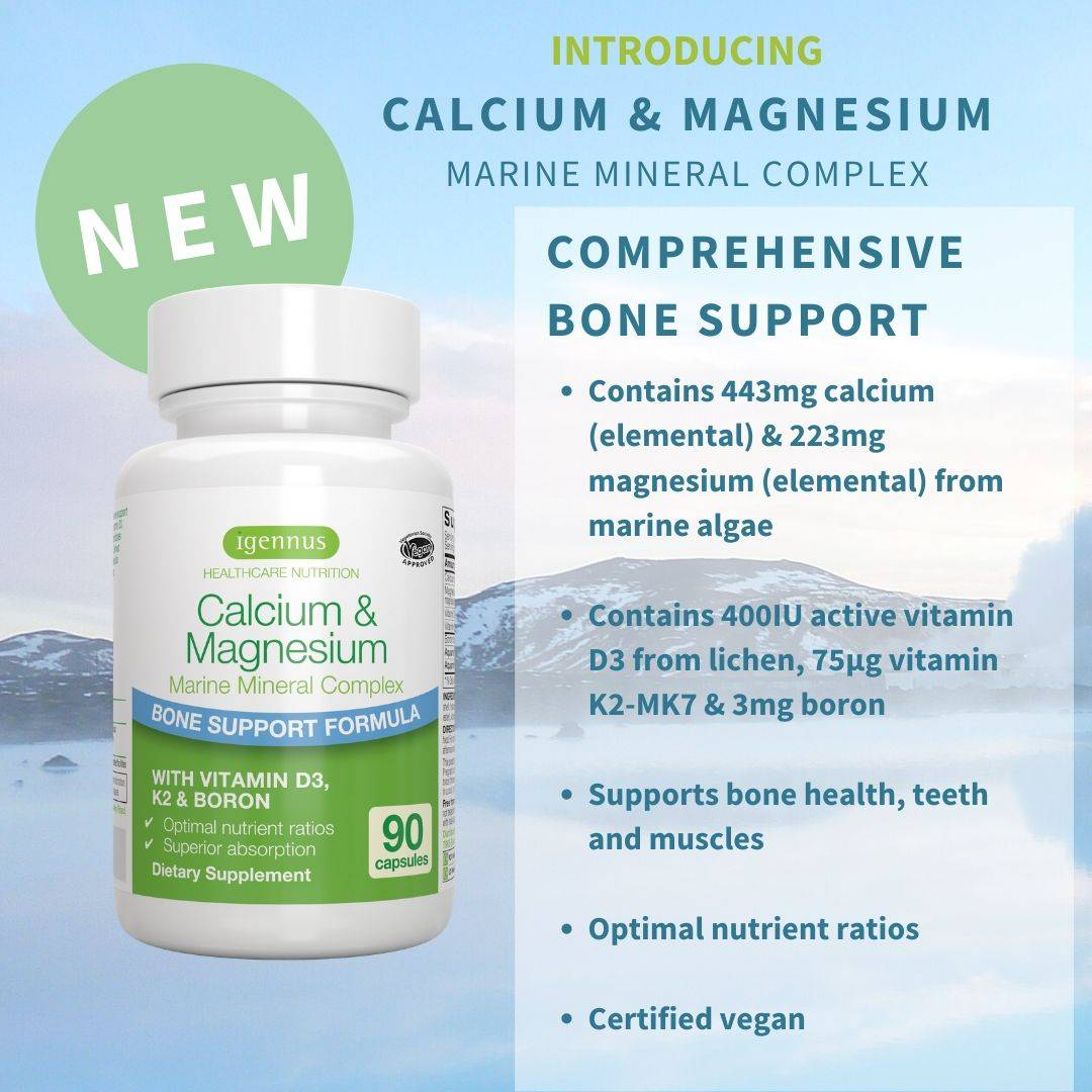 New calcium and magnesium marine mineral complex supports bone health andis vegan