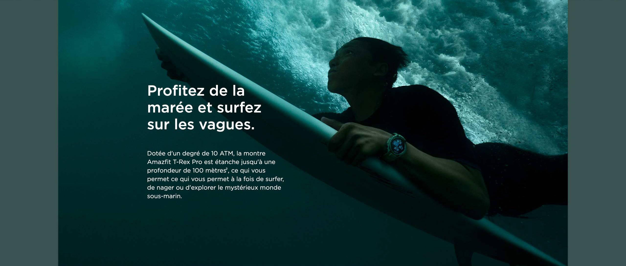Amazfit T-Rex Pro - Profitez de la marée et surfez sur les vagues.