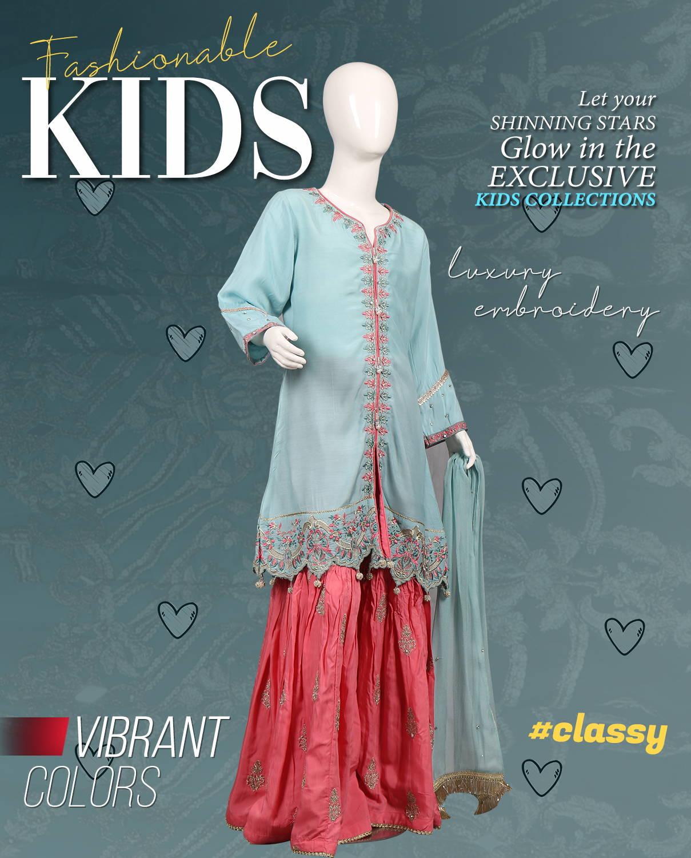 kids fashion Pakistan, teen ethnic dresses
