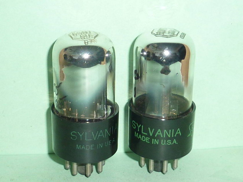 Sylvania 6SN7GTA 6SN7 3 Hole Bad Boy Tubes, Matched Pair, NOS, Tested
