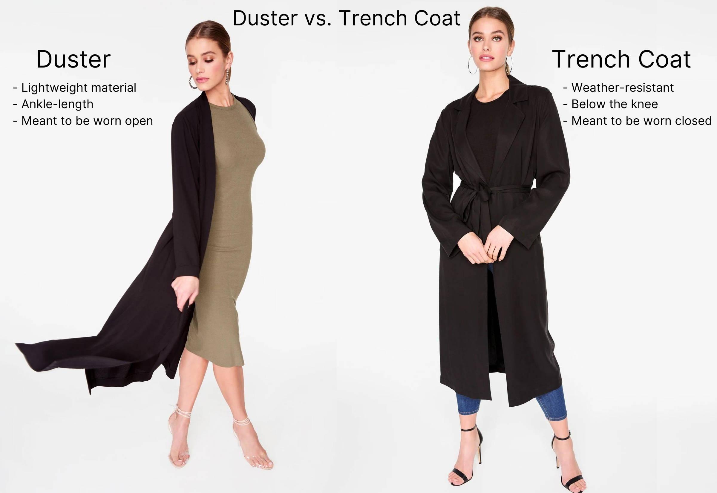duster vs trench coat