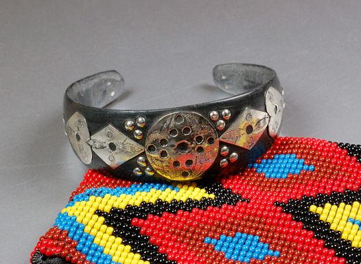 Туарегский браслет черный с серебром №2