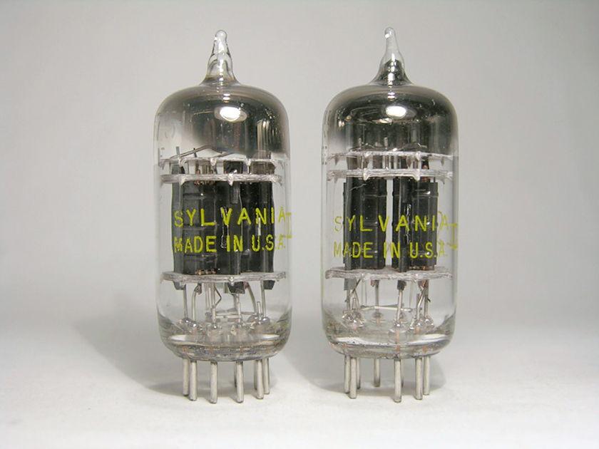 Sylvania 5751 / 12AX7 / ECC83 1957 triple-mica black plate pair brand new in Swedish military aluminum tubes