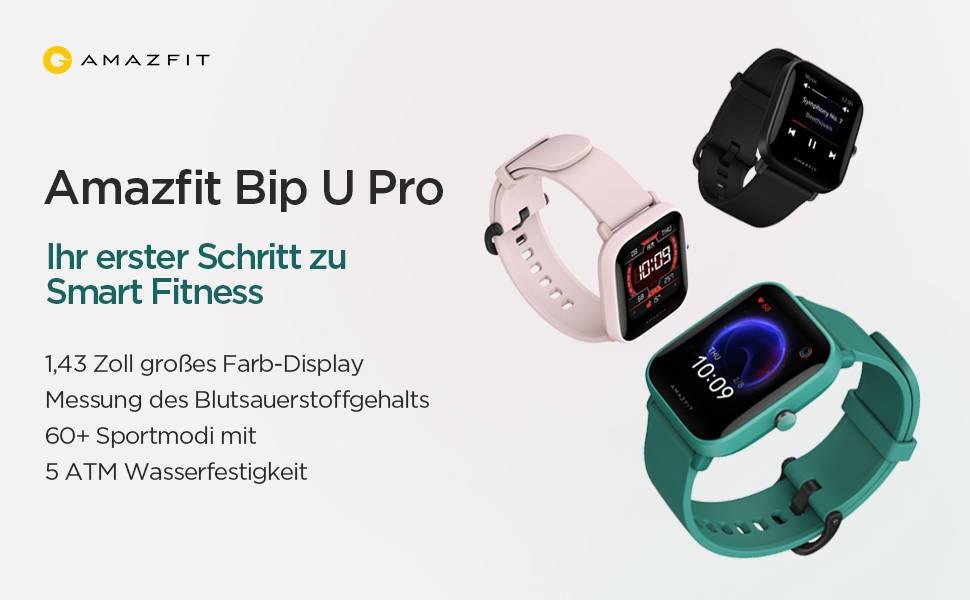 Amazfit Bip U Pro - Ihr erster Schritt zu Smart Fitness 1,43-Zoll großes Farb-Display  Messung des Blutsauerstoffgehalts1 | 5 ATM Wasserfestigkeit2  60+ Sportmodi mit hochpräziser GPS-Ortung