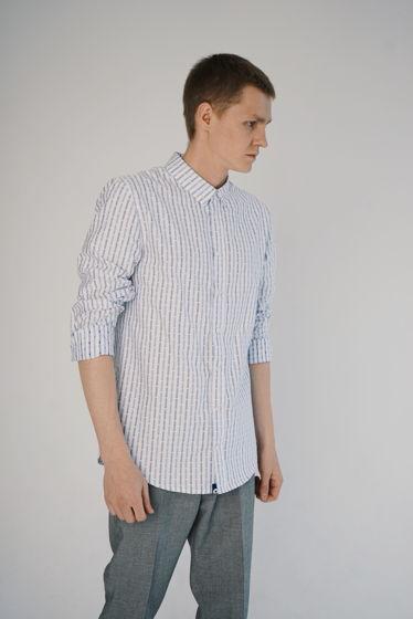 Рубашка мужская голубая полоска