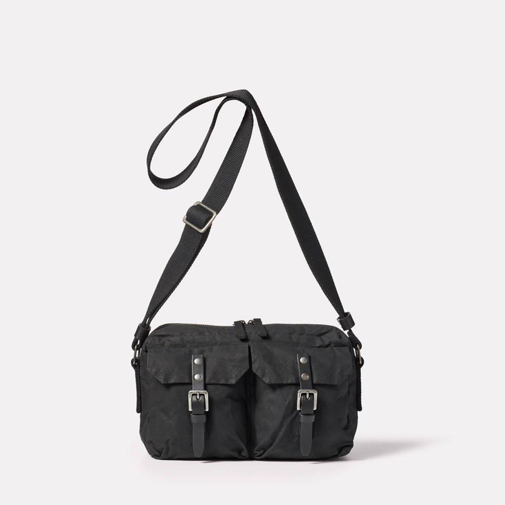 Franco Waxed Cotton Crossbody Bag in Black