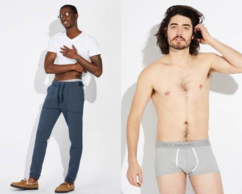 Man wearing organic cotton sweatpants and man wearing grey organic cotton boxer briefs both from sustainable fashion brand Pact