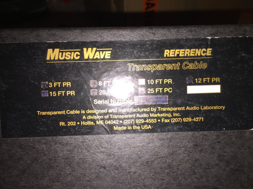 Transparent Audio Reference XL 10ft speaker cables Mint customer trade-in