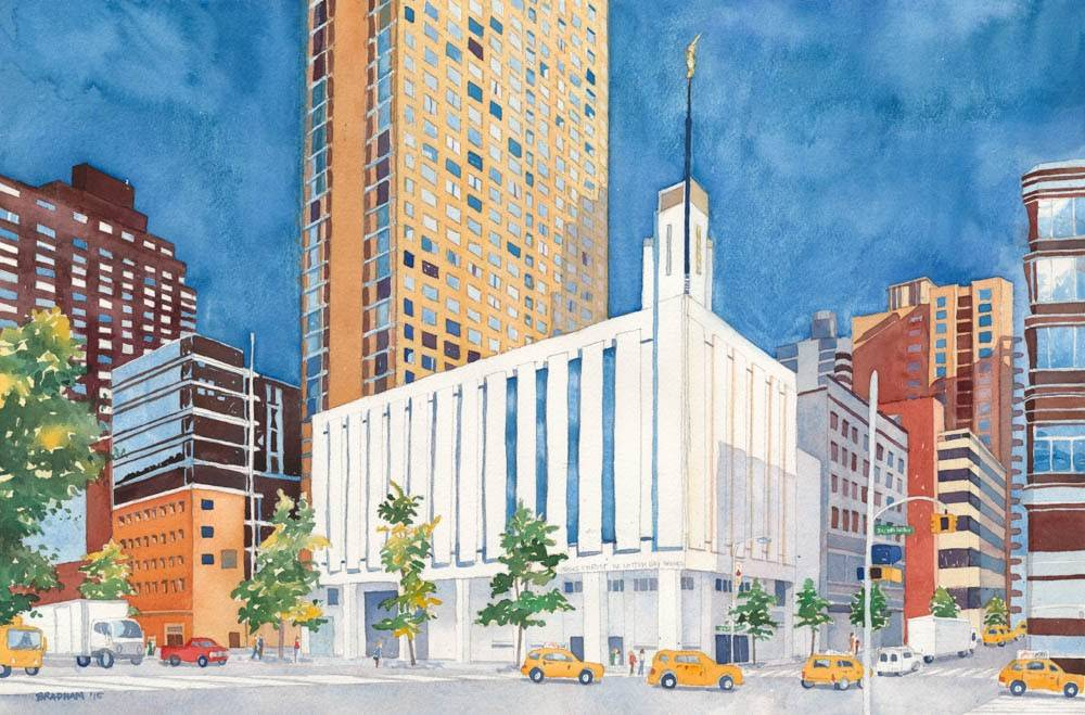 LDS art painting of the Manhattan New York Temple against a blue sky.