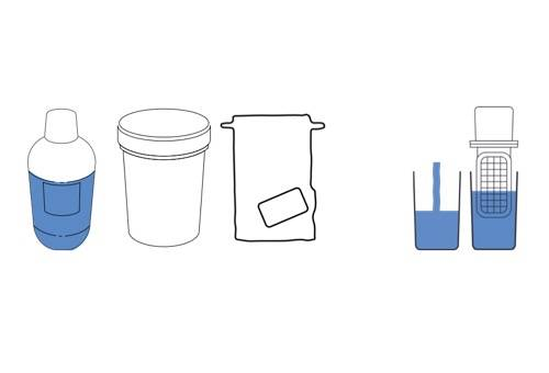 Schema of a sampling fabric, a nomad tester, a bottle of water and a pot