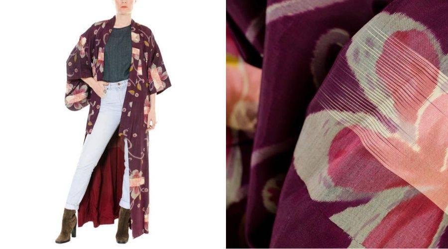 Kimono from the 1920s woven with meisen technique