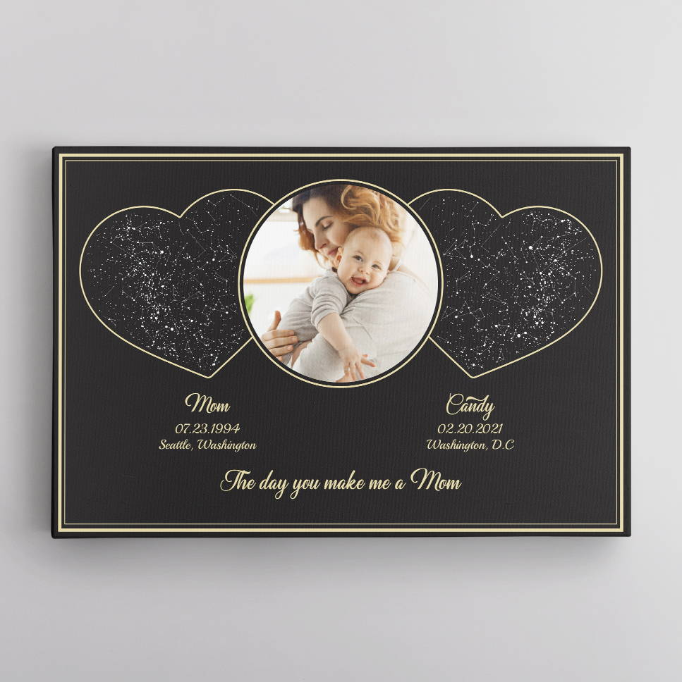 The Day You Make Me A Mom Custom Star Map, Personalized Photo Canvas Wall Art