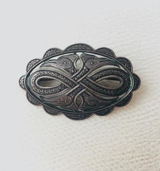 Серебряная брошь в викингском стиле, Скандинавия, 1940е