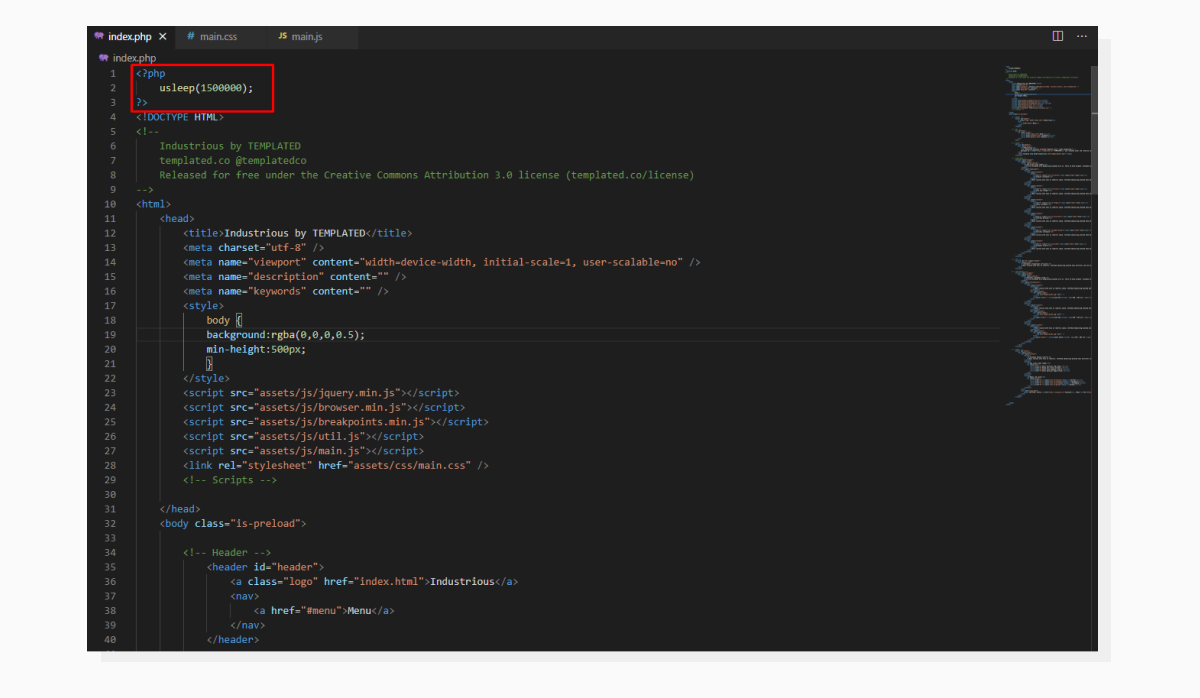 A screenshot of Visual Studio Code with a PHP file opened.