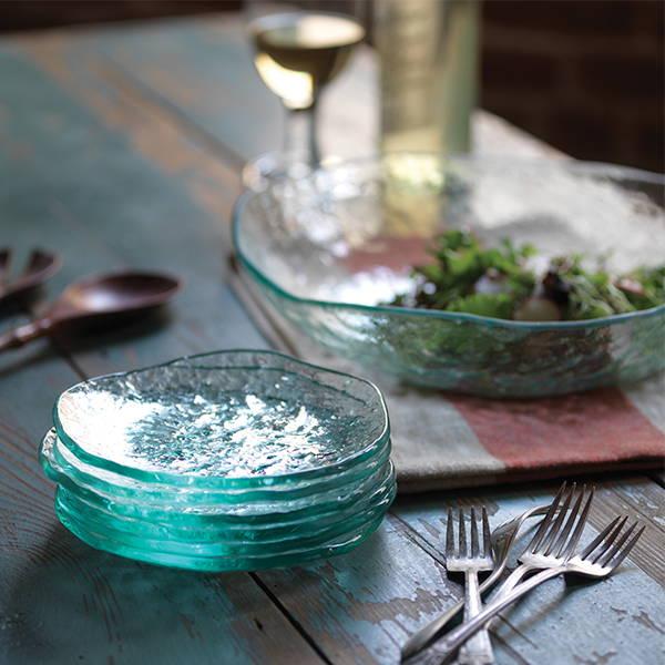 salt, clear textured glass