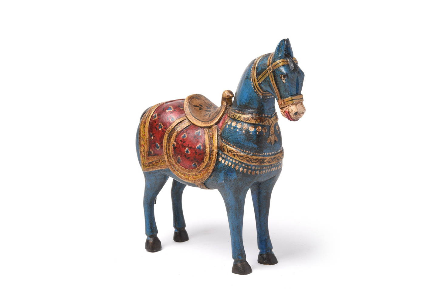 These pastel painted horse figurines are painstakingly carved by talented Rajasthani artists in India | Indigo Antiques