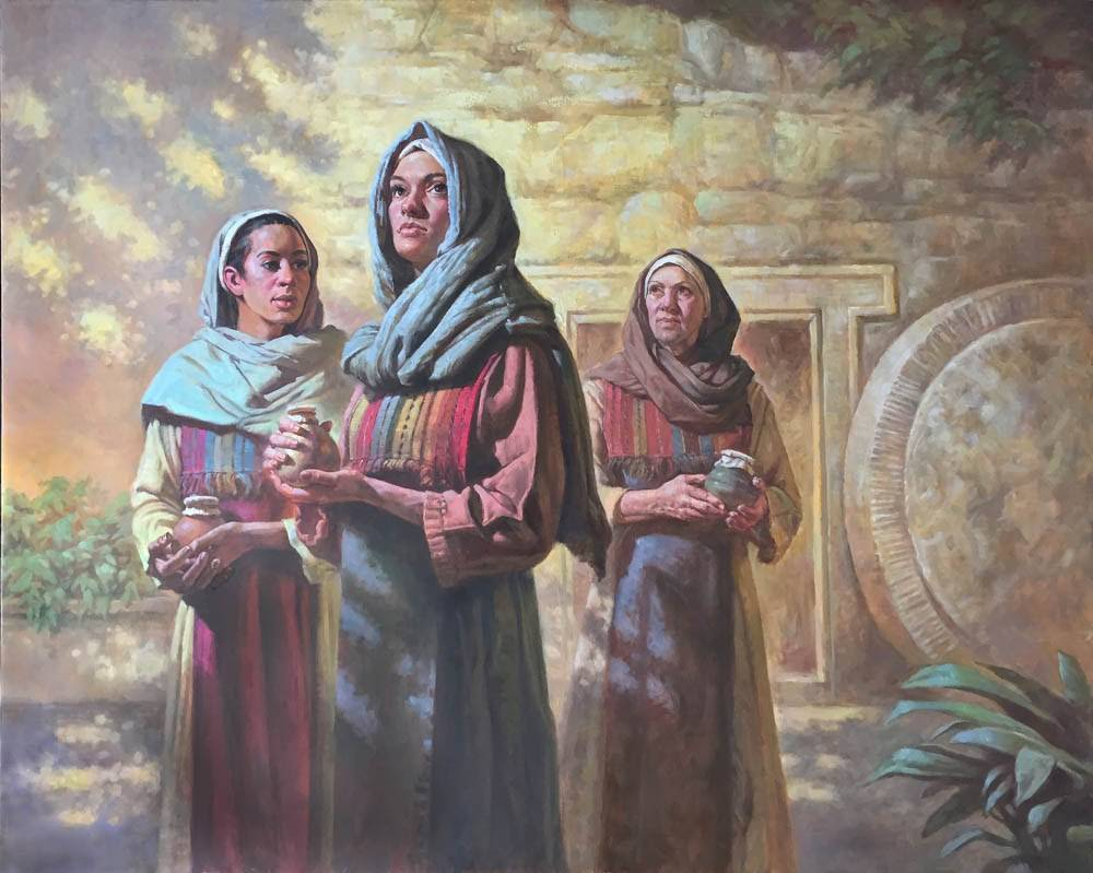 Painting of the three women visiting Jesus' tomb.