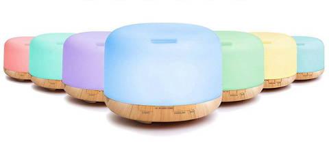 Humidificateur d'air diffuseur d'huile essentielle 500 ml avec télécommande lampe LED bois couleurs led