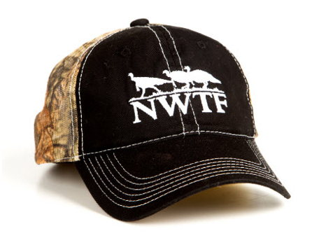 Black Twill Cap w/MOBU Country Mesh Back w/NWTF Tan Logo