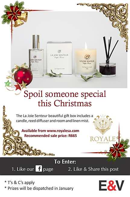 South Africa - Spoil a someone special this Christmas The La Joie Senteur beautiful gift box includes a candle, reed diffuser and room and linen mist.