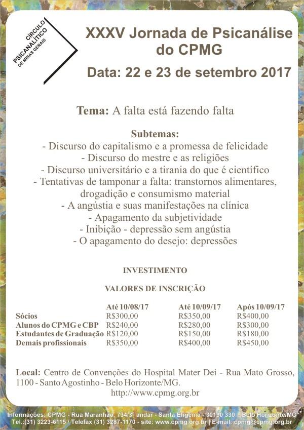 """XXXV Jornada de Psicanálise do CPMG """"A falta está fazendo falta"""""""