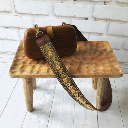 Коричнево-золотой ремень для сумки из жаккардовой тесьмы