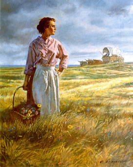 Pioneer woman standing stalwart in a field with a basket of flowers. There is a covered wagon in the background.