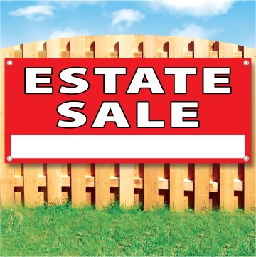 "Wood fence displaying a red banner saying "" Estate Sale"