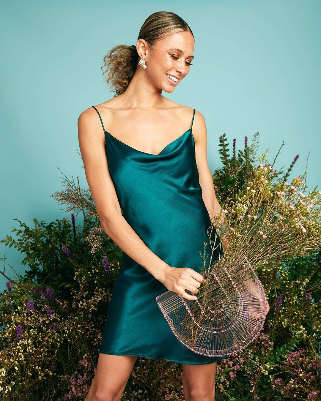 Emerald Cowl Neck Satin Slip Dress