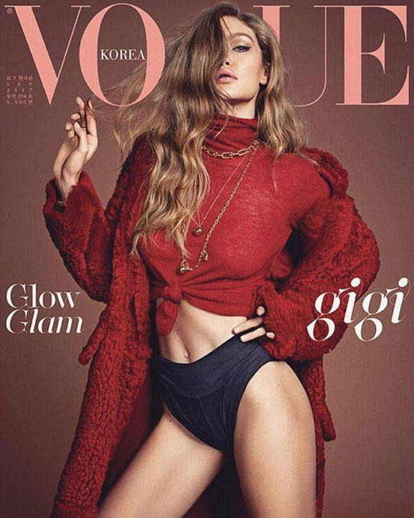 Vogue Korea using on a cover with Gigi Hadid Lingerie Typeface