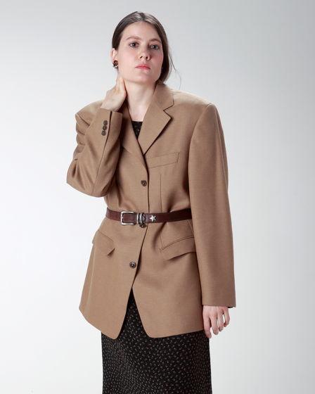 Теплый пиджак оверсайз песочного оттенка