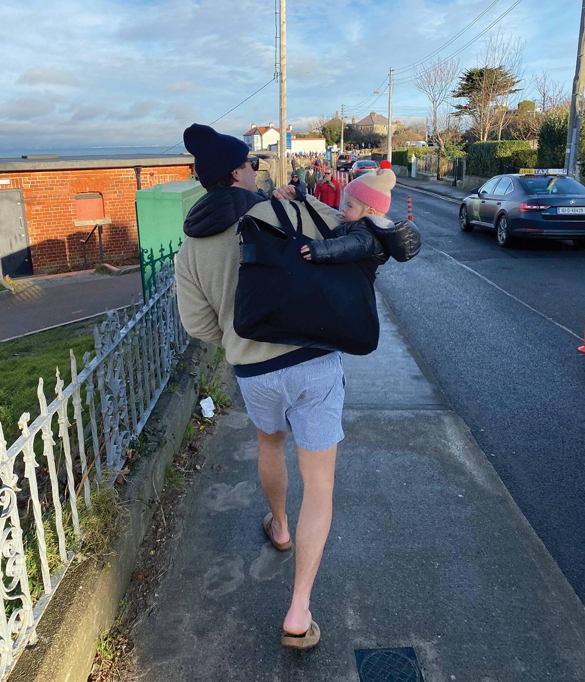Jonathan Legge Carrying his Daughter in the Freddie
